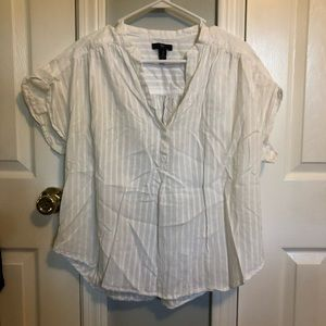 GAP pinstriped loose fit white top size medium